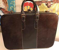 Vtg CHENEY England Suitcase Luggage Calf Hair Fur Leather Brown Lock Keys