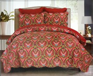 Ashbury Park Queen Full Quilt Paisley Reversible Scarlet Burgundy Multicolor