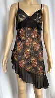Vintage Sheer Slip Frill Nylon Dress Women's Black Floral Asymmetric Hem 12 14