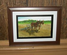 AMISH PLOW MULES Print  by B. Mohler Framed / Very Collectible