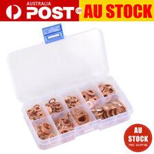 200Pcs 9 Sizes Solid Copper Washers Sump Plug Assorted Washer Kit Plastic Box AU