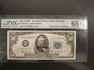 $50 1950-C Fr-2110-G Chicago PMG65 Gem Uncirculated