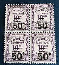 France Taxe N° 51 50/10 C Violet Neuf ** Bloc En TTB Qualité Côté 44€
