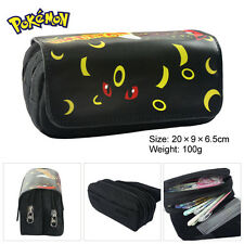 Pokemon Umbreon Pencil Case Student Velcro Double Zipper Stationery Bag Cosmetic