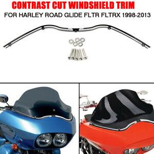 Contrast Cut Windshield Trim Black  For Harley Road Glide FLTR FLTRX 1998-2013