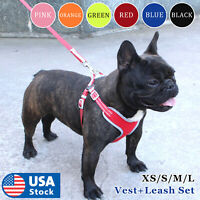 USA Reflective Dog Vest Harness Leash Collar Set No Pull Adjustable for XS-L