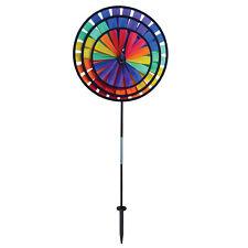 New listing Rainbow Triple Spinner Wheels with Garden Flag 2837