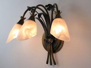 applique classico rustico country ferro battuto floreale verde oro 3 luci camera