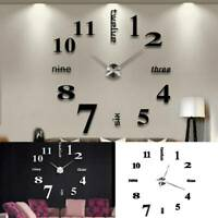 DIY 3D Frameless Number Wall Clock Mirror Sticker Home Office Room Unique Decor