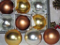 "x9 Vitbis Free-Blown Sateen Glass Christmas Tree Ornaments Handmade in Poland 3"""