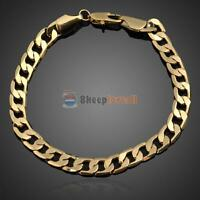 18K Yellow Gold Plated Women Bracelet Curb Chain Link Fashion Men Bangle Jewelry