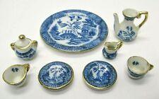 1950's Flow Blue Porcelain Doll House Tea Set 9 Piece Set Gold Trim