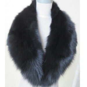 Real Fox Fur Collar Vintage Scarf Match With Coat Jacket For Party Dinner Black