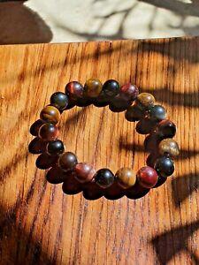 Tigers Eye Natural Gemstone Bead Bracelet Men Women Lucky Charm Heart Detail