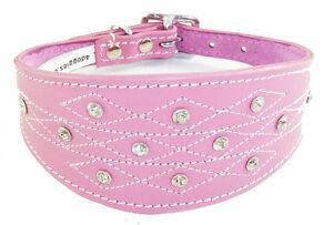 Pink Leather Whippet Dog Collar Greyhound Dog Collar Stitching Design Diamante