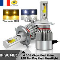 2X 110W H4 COB Phare LED 3000K&6000K Ampoule bicolore Faisceau haut/bas 26000LM