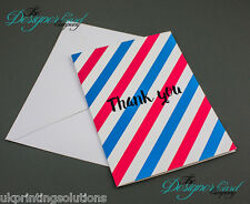 Stripey Thank You Card - Stripes Blue Red Thanks striped Greeting Card