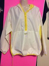 NEW Women's Large 12-14 Nike White Yellow Pullover Zips Hood Jacket Windbreaker