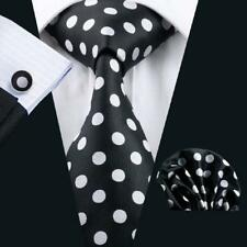 USA Hot Black Tie White Polka Dot Silk Jacquard Wedding Business Necktie C-1190
