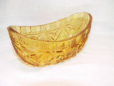 VINTAGE Amber DEPRESSION GLASS Boat Shaped DISH / Oblong Bowl - 17cm Long - GC