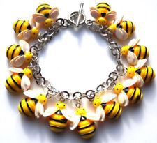 Beautiful handmade adorable bumble bee charm bracelet with gift bag