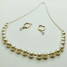 Vintage 14k Gold Sylkay Pearl Necklace & 14k Leverback Pearl Earrings