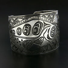 WIDE Northwest Coast Native American Cuff Bracelet Halibut Salmon Design Signed