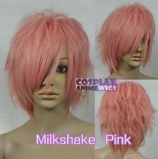 30cm Milkshake Pink Heat Styleable Shaggy cut Cosplay Wigs 72_KPN