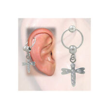 Cartilage - Tragus Dragonfly Design with Jewels (16G-3/8 In-10mm) - BCH8-C
