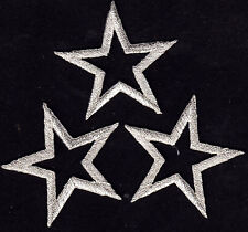 """STARS - SILVER 1 5/8"""" (3 Pieces)Iron On Embroidered Applique Patch"""