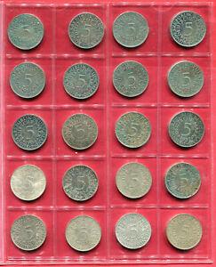 Aus 1951/72. GROßER ADLER 5 DM 20 Silbermünze  mit 1957(F) 1958(G) usw, S/ST