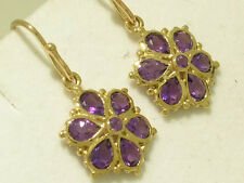 E036 GENUINE 9ct Yellow Gold NATURAL Amethyst DAISY Blossom Flower Drop Earrings
