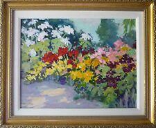 oil painting flowers 14x18 original landscape garden P.Hamilton impressionism