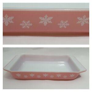 Vintage Pyrex Rectangular Oven Dish Pink Gaiety Snowflake  29 cm x 17 cm Shallow