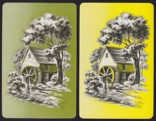 2 Single VINTAGE Swap/Playing Cards WATER WHEEL MILL HOUSE ID MILLSTREAM SV-8-11