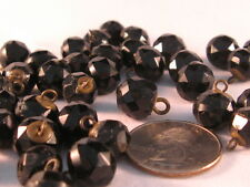 36 Victorian Faceted Black Ball Glass Buttons w Brass Loop & plate shank Lot 2