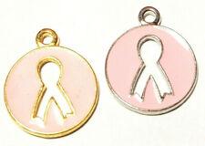 Epoxy Enameled Breast Cancer Pink Ribbon Pendant - 17mm L x 20mm W x 2mm D