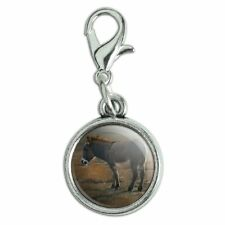 Burro Small Donkey Antiqued Bracelet Charm with Lobster Clasp