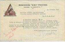 61453 - ITALIA - STORIA POSTALE: LETTERA INTESTATA da  PIACENZA 1941: MOSCHICIDA
