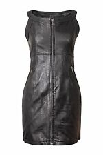 NEW BLACK REAL GENUINE LEATHER LADIES WOMAN SEXY PARTY DRESS SIZE 6-20