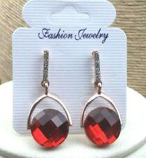 Fashion Earrings Rhinestone Crystal Red Glass Stone Rose Gold Pierced Drop