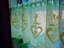 Vtg Elizabeth Lace Valance Curtains Yellow New 12 by 54 inch Lot of 2