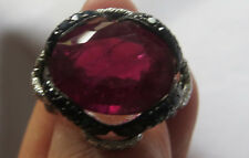 Ruby,black diamonds, white diamonds Ring,bague/M1/2/ITALIAN  twist/