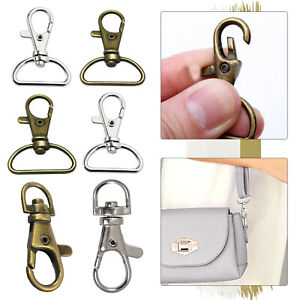 Metal Lobster Clasp D-Ring Swivel Trigger Snap Hooks Buckle Ring Keychain Clips