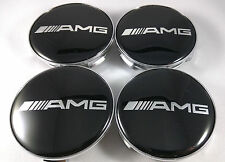 4 PC SET Mercedes Benz Wheel Center Caps Emblem BLACK AMG Logo Hubcaps 75MM