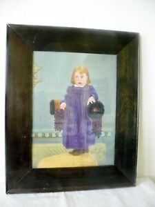 Antique Old American Folk Art Portrait Painting on Board Glass Framed Girl Child