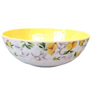 "Shabby Chic Lemon & Bees Melamine Large Serving Bowl 11"" Salad Rachel Ashwell"