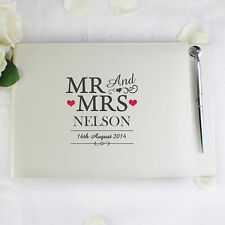 Personalised Wedding Mr & Mrs Guest Book & Pen Blank Album Gift