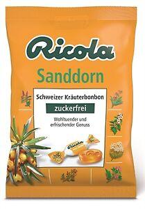 (2,13€/100g) 5 x Ricola Sanddorn Hustenbonbons ohne Zucker 75g = 375g