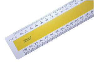 """300mm 12"""" No.4 Ordnance scale ruler 1:1250 1:2500 1:10000 1:10560 6""""=1 mile"""